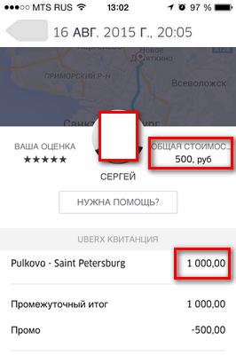Uber стоимость с промо кодом